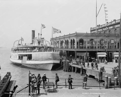 Vintage Ferry Boat At Dock Michigan 8x10 Reprint Of Old Photo