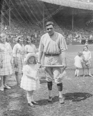 Babe Ruth With Cute Little Girl New York Vintage 8x10 Reprint Of Old Photo - Photoseeum