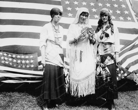 Fortune Telling Gypsies U.S. Flag 1910s Old 8x10 Reprint Of Photo