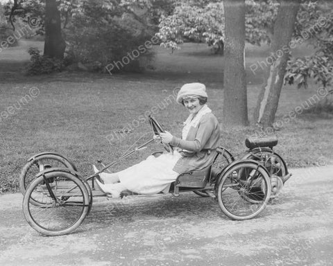 Woman Rides Vintage Go Cart 1900s 8x10 Reprint Of Old Photo