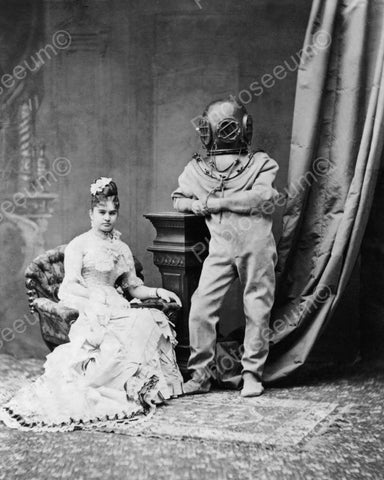 Victorian Young Lady & Deep Sea Diver 8x10 Reprint Of Old Photo