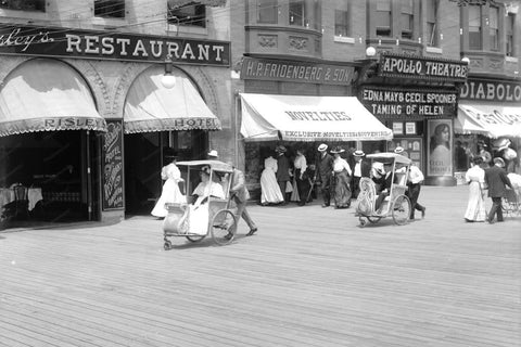 Atlantic City Boardwalk Hand Buggies 1920 4x6 Reprint Of Old Photo - Photoseeum