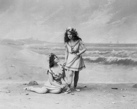 Beautiful Victorian Girls by Beach 8x10 Reprint Of Old Photo