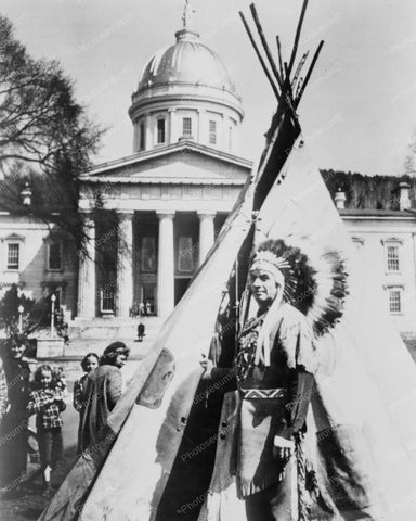 Chief With Tepee At Capitol Building Old 8x10 Reprint Of Old Photo