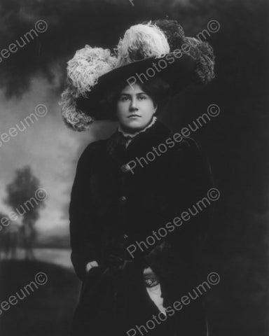 Victorian Lady In Large Feather Hat Vintage 8x10 Reprint Of Old Photo