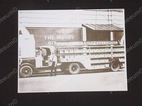 Coca Cola Truck Featuring the Handy 6 Pack Vintage Sepia Card Stock Photo 1930s - Photoseeum