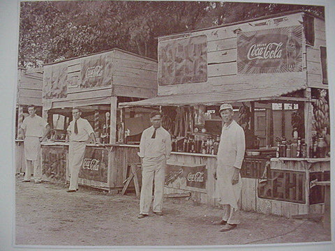 Coca Cola Refreshment Stand Soda Jerk Vintage Sepia Card Stock Photo 1040s