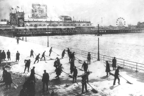 Coney Island Steeplechase Snow Clearing 4x6 Reprint Of Old Photo