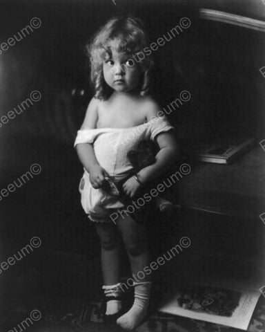 Beautiful Little Girl Posing In Sunsuit 8x10 Reprint Of Old Photo