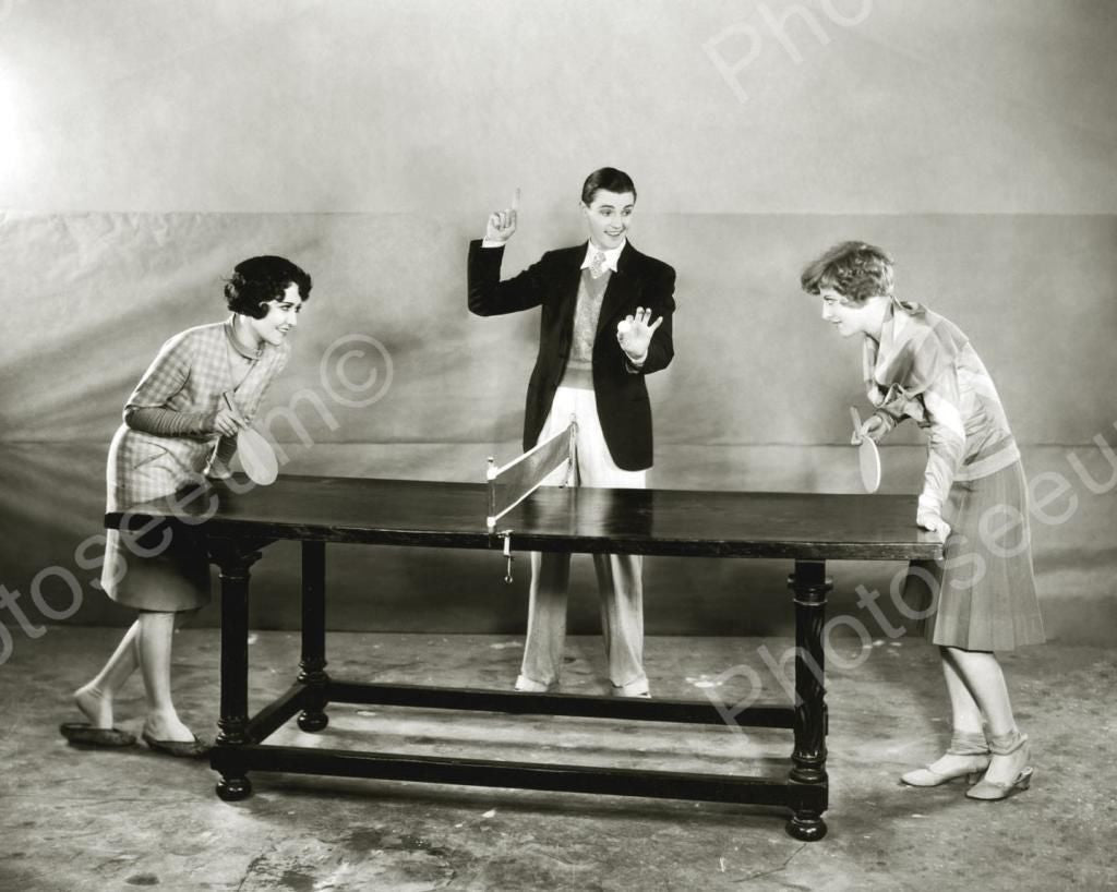 Ping Pong Game Vintage 8x10 Reprint Of Old Photo