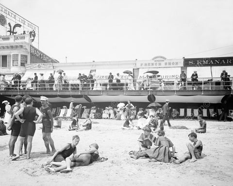 Beach & Boardwalk Atlantic City 1900s 8x10 Reprint Of Old  Photo
