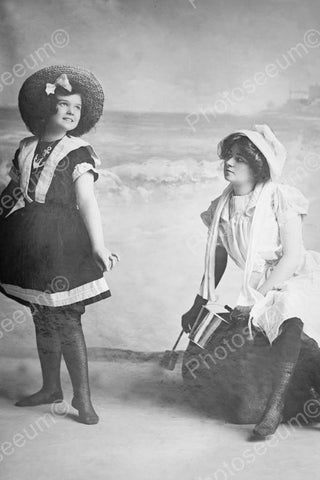Victorian Girls At Beach Classic 4x6 Reprint Of Old Photo