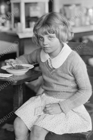 Young Girl Eats Soup 4x6 Reprint Of Old Photo