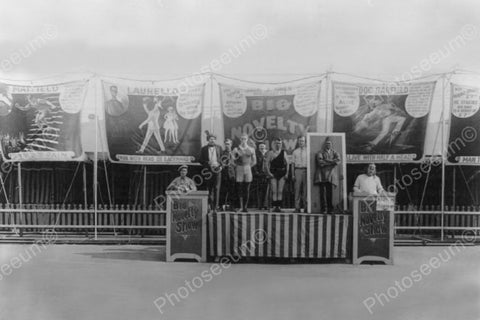 Carnival Sideshow On Stage Circa 1920s 4x6 Reprint Of Old Photo