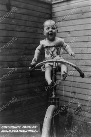 Baby On Antique Bike 1899! 4x6 Reprint Of Old Photo