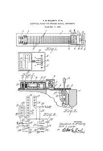 USA Patent T McCarty Gibson Guitar Pickup 1950's Drawings