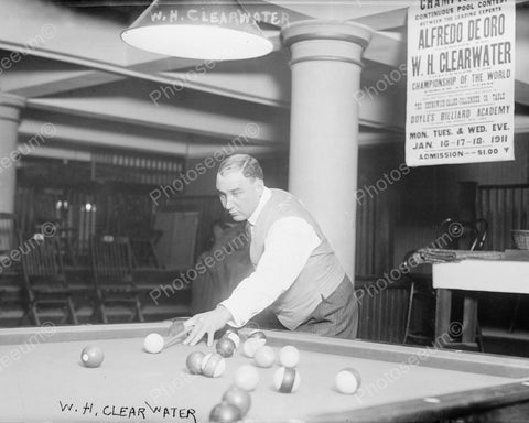 WH Clearwater Playing Pool wEvent Poster1911 Vintage 8x10 Reprint Of Old Photo