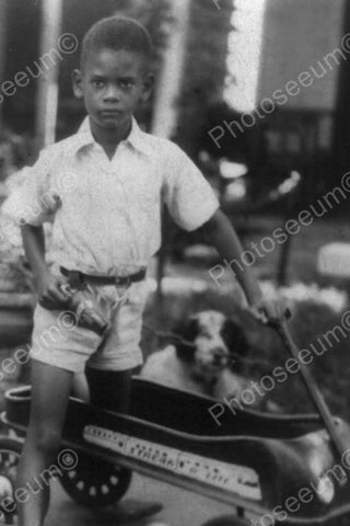 Black Boy Rides Antique Wagon Dog Watches 4x6 Reprint Of Old Photo