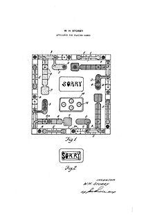 USA Patent Sorry Board Game 1930's Drawings