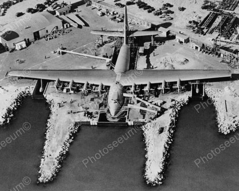 Hughes Flying Boat Sea Plane 1940s 8x10 Reprint Of Old Photo