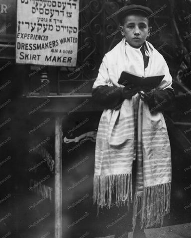 Boy Prayer Shawl Jewish New Year NY 8x10 Reprint Of Old Photo
