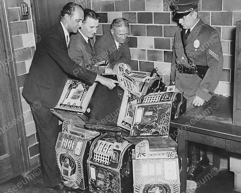 Examing Confiscated Slot Machines Vintage 8x10 Reprint Of Old Photo