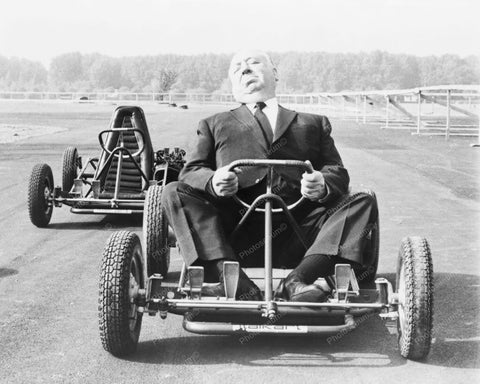 Alfred Hitchcock Rides Go Cart! 8x10 Reprint Of Old Photo - Photoseeum