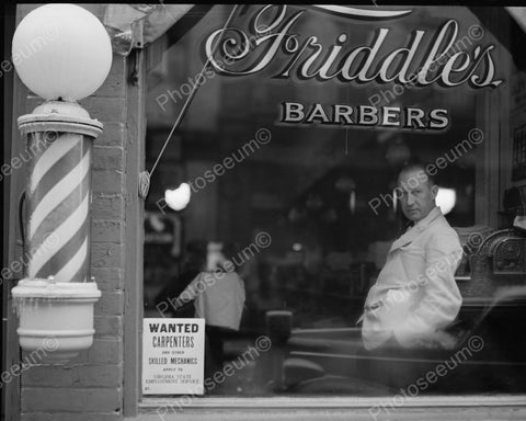 Barber Shop Pole & Window 1900s Vintage 8x10 Reprint Of Old Photo - Photoseeum