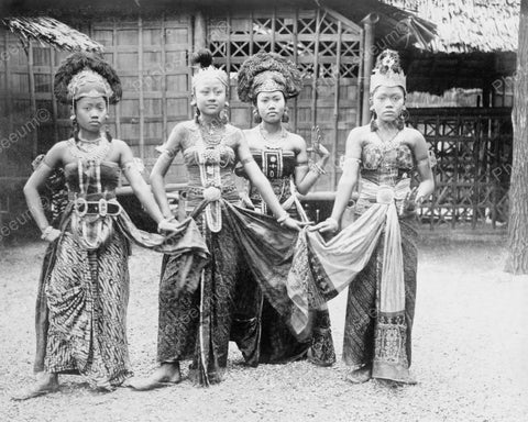 Asian Dancers 1889 Vintage 8x10 Reprint Of Old Photo - Photoseeum