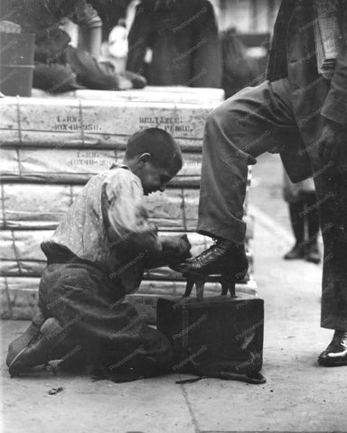 Bootblack Shoeshine Boy At Work Vintage 8x10 Reprint Of Old Photo