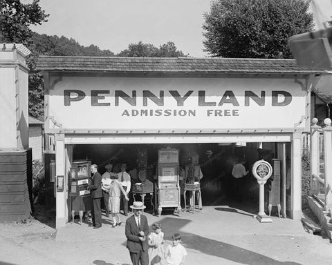 Glen Echo Amusement Pennyland Arcade 8x10 Reprint Of Old Photo