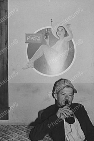 Young Man Drinks Under Classic Coke Sign 4x6 Reprint Of Old Photo