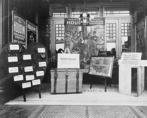 Houdini Exhibit, Handcuffs, Signs,1900s 8x10 Reprint Of Old Photo