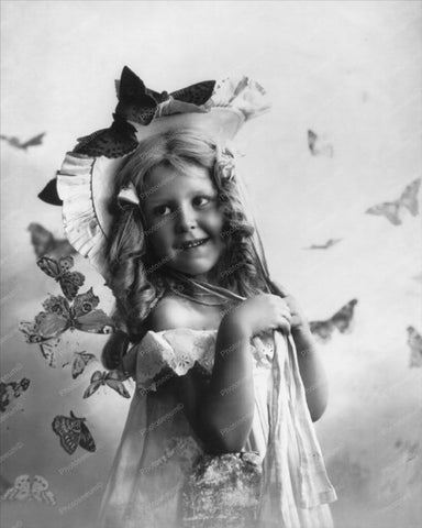 Victorian Little Girl With Butterflies 8x10 Reprint Of Old Photo