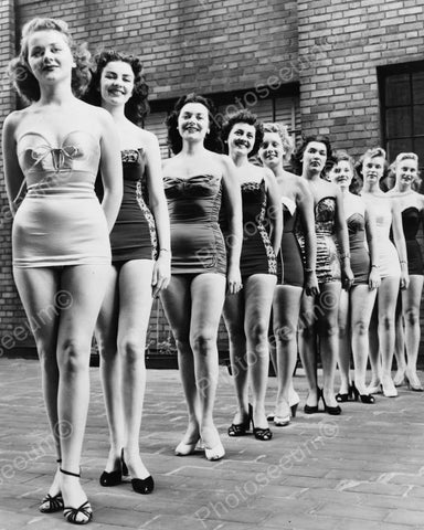 Beauty Pageant Contestants In Line Up 8x10 Reprint Of Old Photo