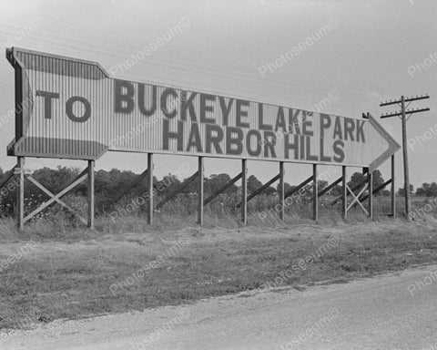 Buckeye Lake Sign 1938 Vintage 8x10 Reprint Of Old Photo