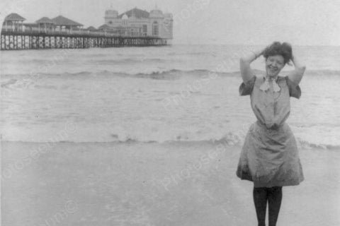 Atlantic City Beach Wading Girl 4x6 Reprint Of 1900s Old Photo