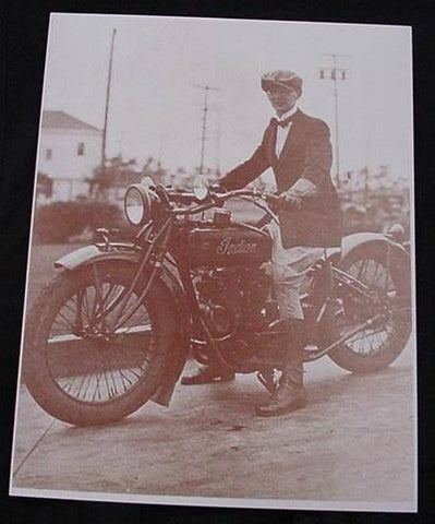 Man With Motorcycle Vintage Motor Bike Vintage Sepia Card Stock Photo 1920s