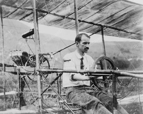 Glenn Curtis At Wheel June Bug Airplane Vintage Reprint 8x10 Old Photo