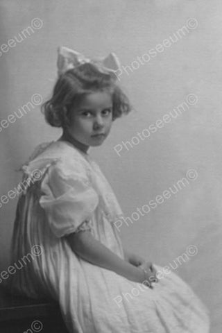 Doe Eyed Girl White Gown & Bow Portrait 4x6 Reprint Of Old Photo - Photoseeum
