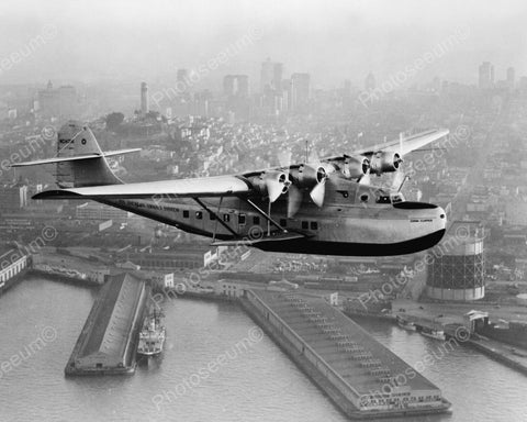 China Clipper Plane Over San Francisco 1936 Vintage 8x10 Reprint Of Old Photo - Photoseeum