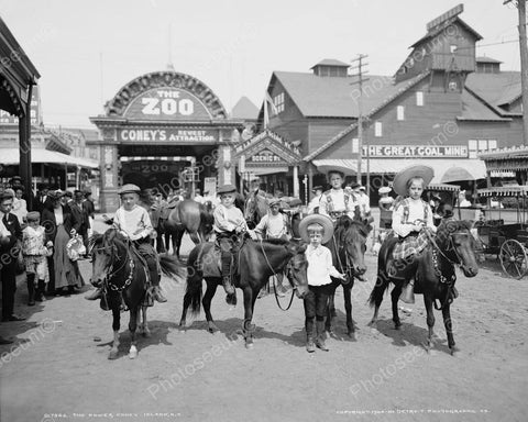 Boys Ride Ponies At Coney Island Zoo 8x10 Reprint Of Old Photo