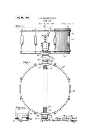 USA Patent Slingerland Super Radio King Snare Drum Drawings