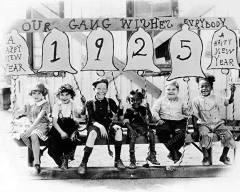 "Childrens ""OurGang"" 1925 New Year Message Vintage 8x10 Reprint Of Old Photo"