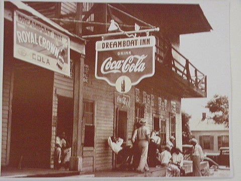 Coca Cola Dreamboat Inn Black Americana Vintage Sepia Card Stock Photo 1930s