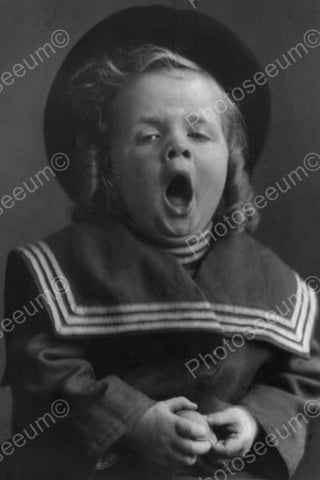 Big Yawn For Little Sailor Girl Tot! 4x6 Reprint Of Old Photo