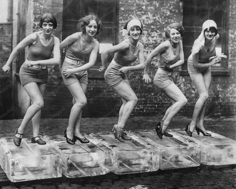 Dancers On Ice Blocks Vintage 8x10 Reprint Of Old Photo