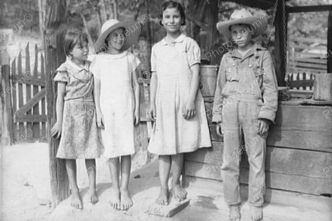 Young Barefoot Country Kids Circa 1920s 4x6 Reprint Of Old Photo