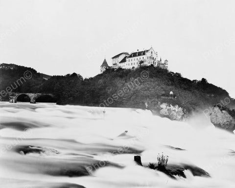 Castle On A Hill Schaffhausen Falls 8x10 Reprint Of Old Photo - Photoseeum