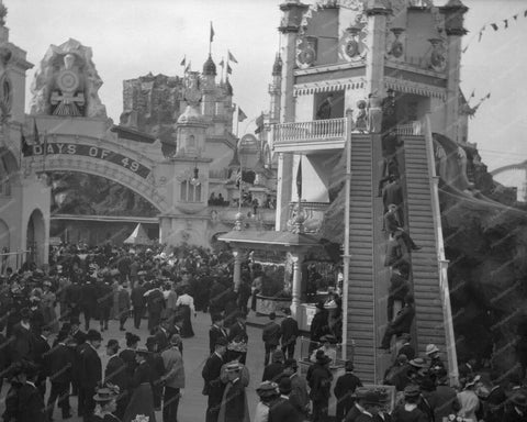 Coney Island The Slide Ride Luna Park  8x10 Reprint Of 1909 Old  Photo